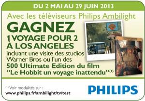 Concours TV Philips : voyage à Hollywood ou BD Le Hobbit à gagner