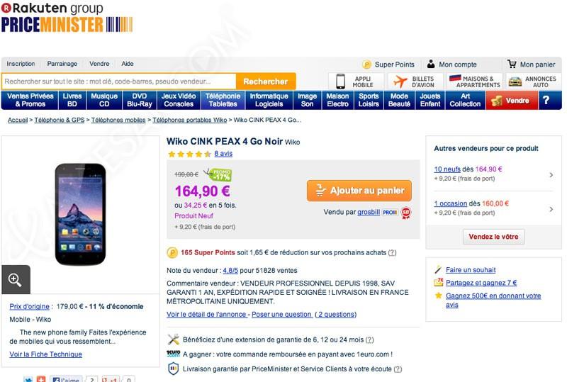 soldes price minister bons plans wiko cink peax. Black Bedroom Furniture Sets. Home Design Ideas