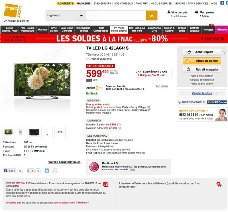 soldes fnac tv led 33 sur le lg 42la641s 3d. Black Bedroom Furniture Sets. Home Design Ideas