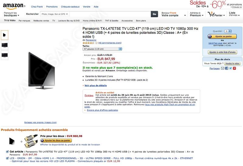 soldes amazon tv led 28 sur le panasonic tx l47et5. Black Bedroom Furniture Sets. Home Design Ideas