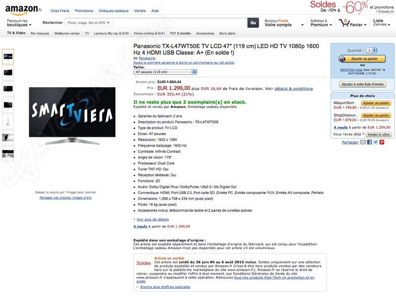 soldes amazon tv led 21 sur le panasonic tx l47wt50. Black Bedroom Furniture Sets. Home Design Ideas
