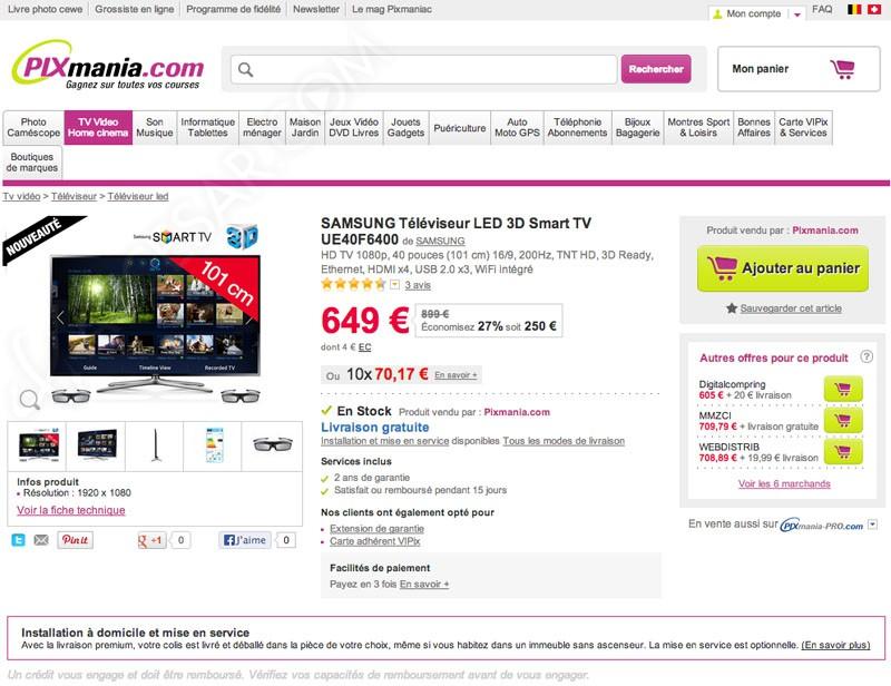 soldes pixmania tv led 3d 27 sur la samsung ue40f6400. Black Bedroom Furniture Sets. Home Design Ideas