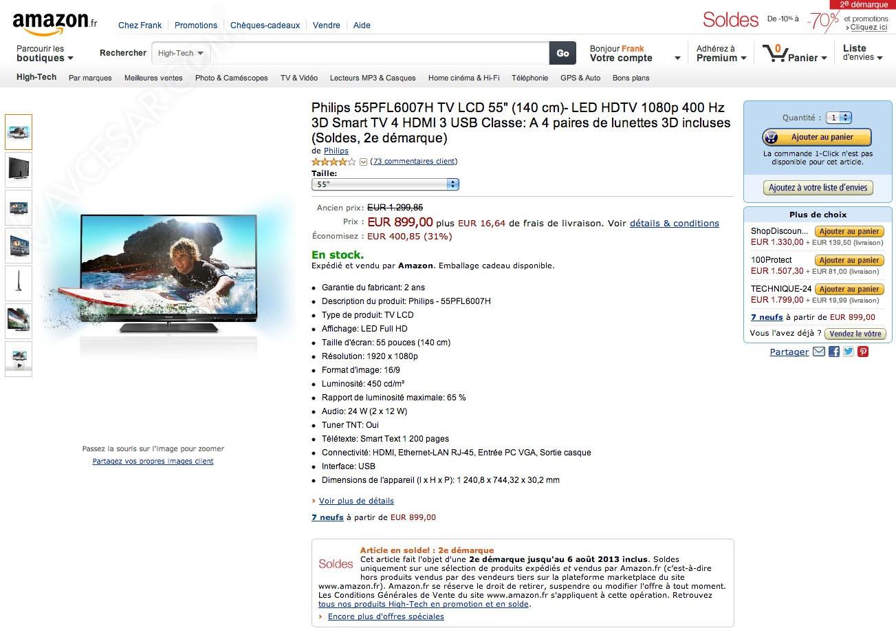 soldes amazon tv led 2e d marque 31 sur le philips 55pfl6007. Black Bedroom Furniture Sets. Home Design Ideas