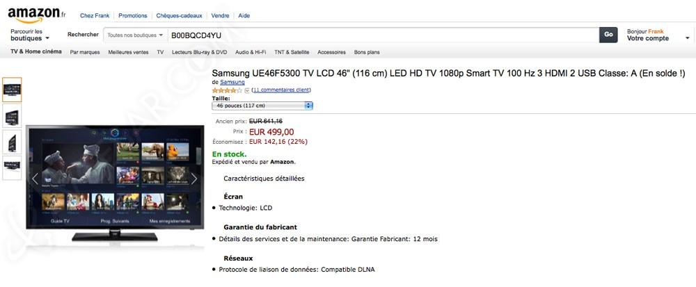 soldes tv lcd amazon smart tv samsung ue46f5300. Black Bedroom Furniture Sets. Home Design Ideas