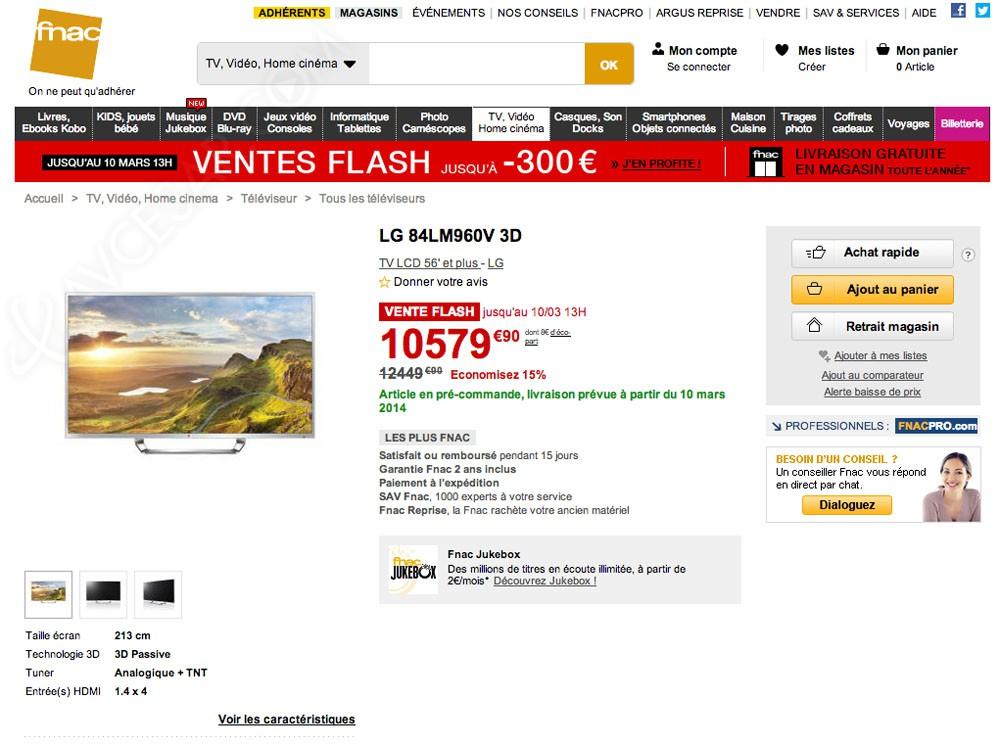 Tv led ultra hd lg 84lm960v vente flash fnac 10 579 90 - Vente flash televiseur ...