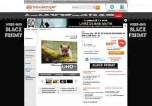 black friday boulanger tv 4k philips 50puk6809 127 cm. Black Bedroom Furniture Sets. Home Design Ideas