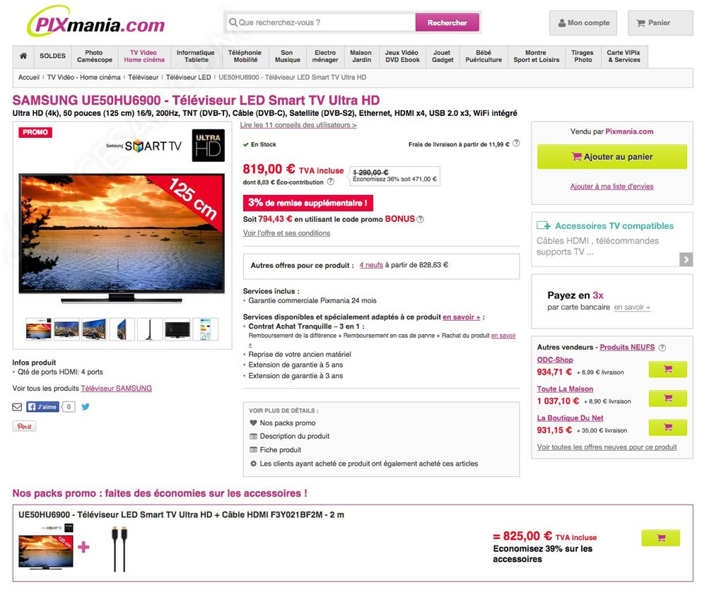 promos internet tv led ultra hd les prix les moins chers du jour. Black Bedroom Furniture Sets. Home Design Ideas