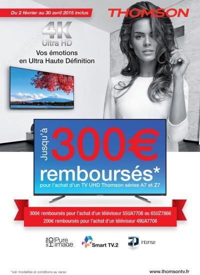 Offre de remboursement TV Thomson : jusqu'à 300 € remboursés