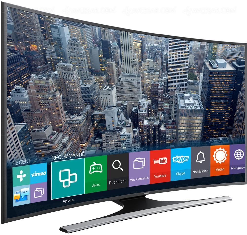tv led ultra hd samsung ju6570 courbe quatre tailles d. Black Bedroom Furniture Sets. Home Design Ideas