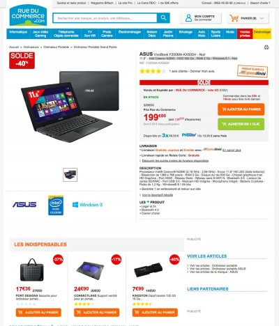 solde ordinateur ultra portable 40 sur l 39 asus vivobook. Black Bedroom Furniture Sets. Home Design Ideas