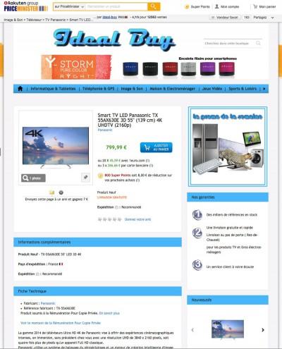 solde tv ultra hd 779 le panasonic 55ax630. Black Bedroom Furniture Sets. Home Design Ideas