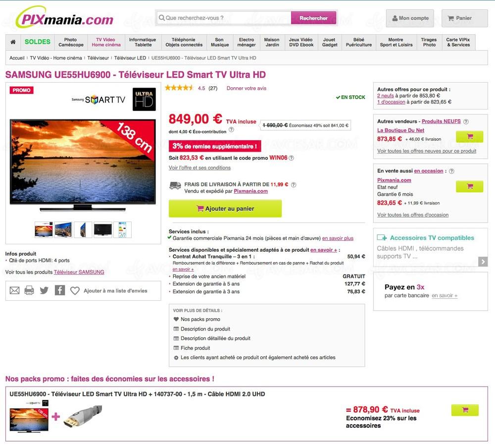 tv uhd samsung 55hu6900 823 51 sur le prix de lancement. Black Bedroom Furniture Sets. Home Design Ideas