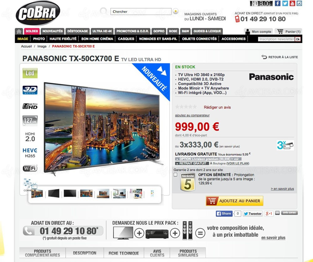 solde tv ultra hd panasonic tx 50cx700e 999 soit une remise de 17. Black Bedroom Furniture Sets. Home Design Ideas