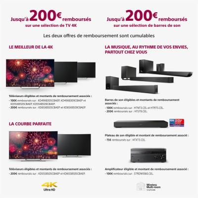 Offre de remboursement TV Sony Ultra HD : jusqu'à 200 € remboursés