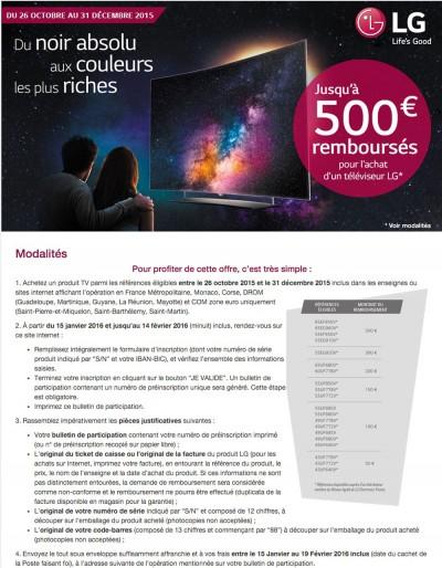 Offre de remboursement LED/Oled LG : jusqu'à 500 € remboursés