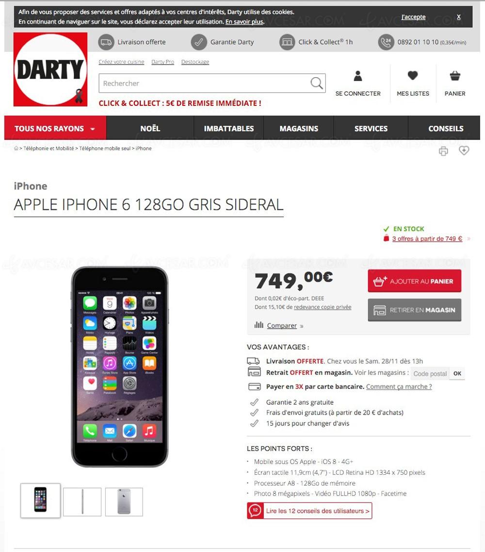 bon plan darty iphone 6 128 go 170. Black Bedroom Furniture Sets. Home Design Ideas