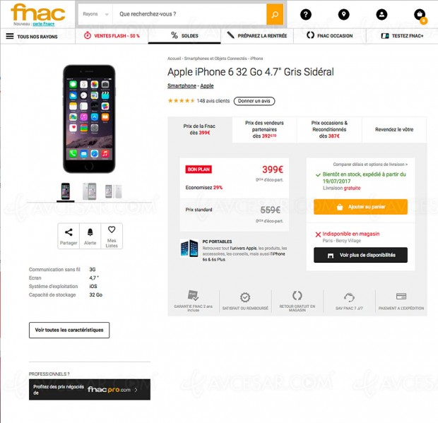 vente flash iphone 6 32 go et iphone se 32 go 128 go jusqu 39 160 de remise. Black Bedroom Furniture Sets. Home Design Ideas