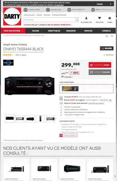 Bon plan Darty Onkyo TX-SR444 : l'ampli Dolby Atmos le moins cher
