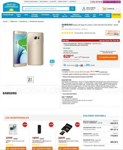 Samsung Galaxy S6 Edge Plus : -21,4% sur Rueducommerce.fr