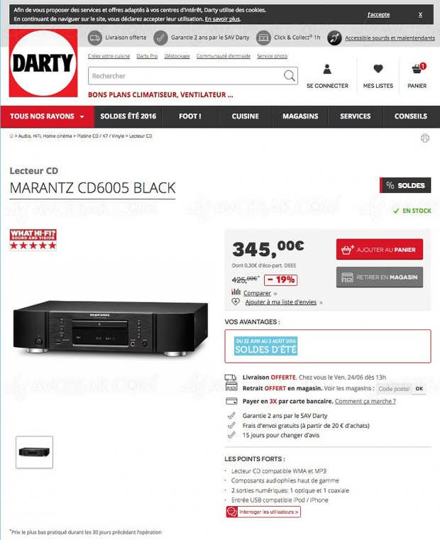 solde de 18 le lecteur cd audio marantz cd6005. Black Bedroom Furniture Sets. Home Design Ideas