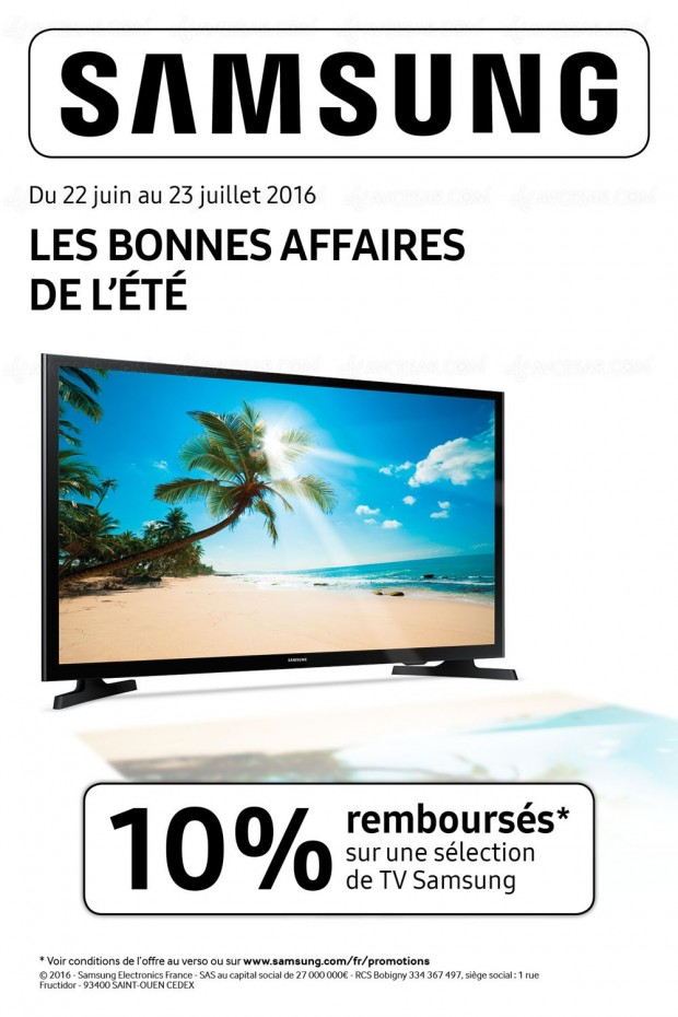 offre de remboursement 10 samsung les bonnes affaires de l 39 t. Black Bedroom Furniture Sets. Home Design Ideas
