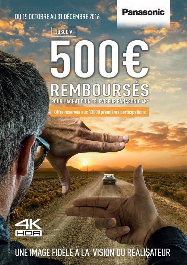 Offre de remboursement Panasonic TV UltraHD, jusqu'à 500€remboursés :