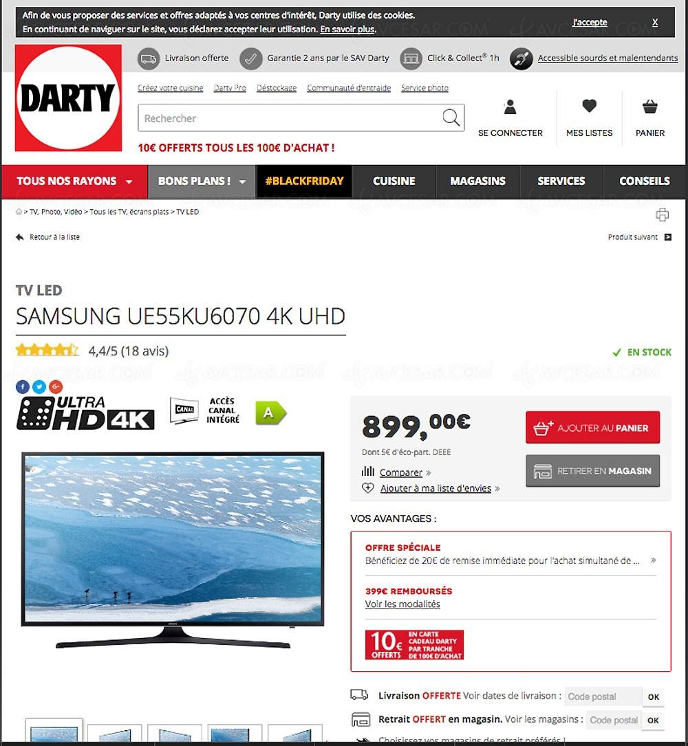 black friday darty tv samsung ue55ku6070 44 5. Black Bedroom Furniture Sets. Home Design Ideas