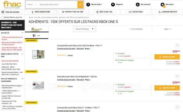 Très bons plans Fnac, Xbox OneS à170€ pour lesadhérents