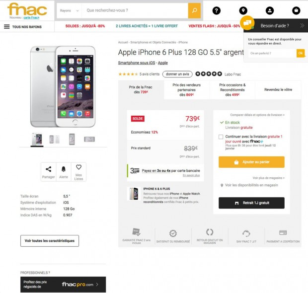 Soldes 2017, iPhone 6S 128 Go à 739 €