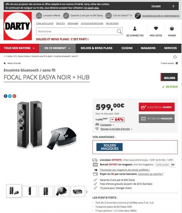Soldes 2017, pack enceintes réseau Focal Easya à 599 €, 64% de remise