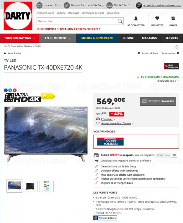 Soldes Darty, TV Sony KD‑65SD8505 à -25% et Panasonic TX‑40DX720 à -42%