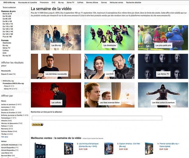 Amazon semaine de la vidéo, 11 000 BD/DVD à petit prix, jusqu'à -40%