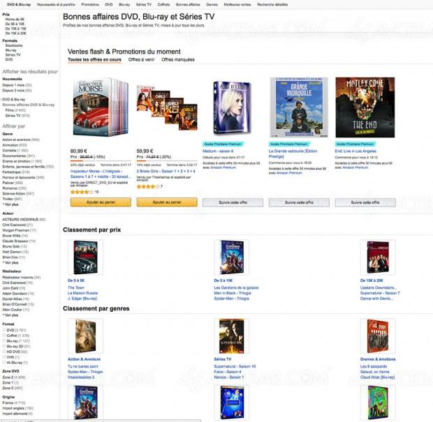 Amazon bonnes affaires DVD, Blu‑Ray et Séries TV, 5 000 BD/DVD à petit prix