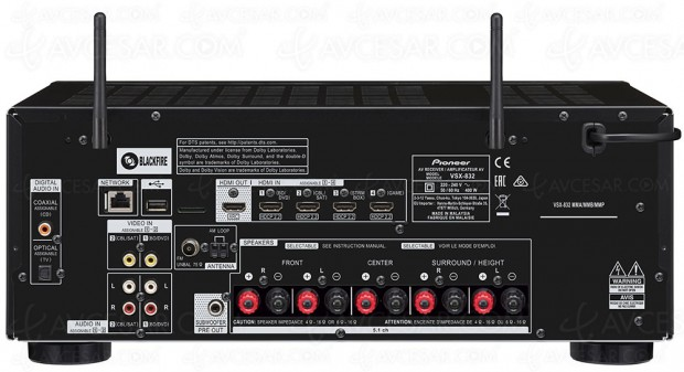 Pioneer VSX-832B/VSX-832S, ampli 5.1, HDMI 2.0a, FireConnect, Dolby Atmos 3.2.1, DTS:X…