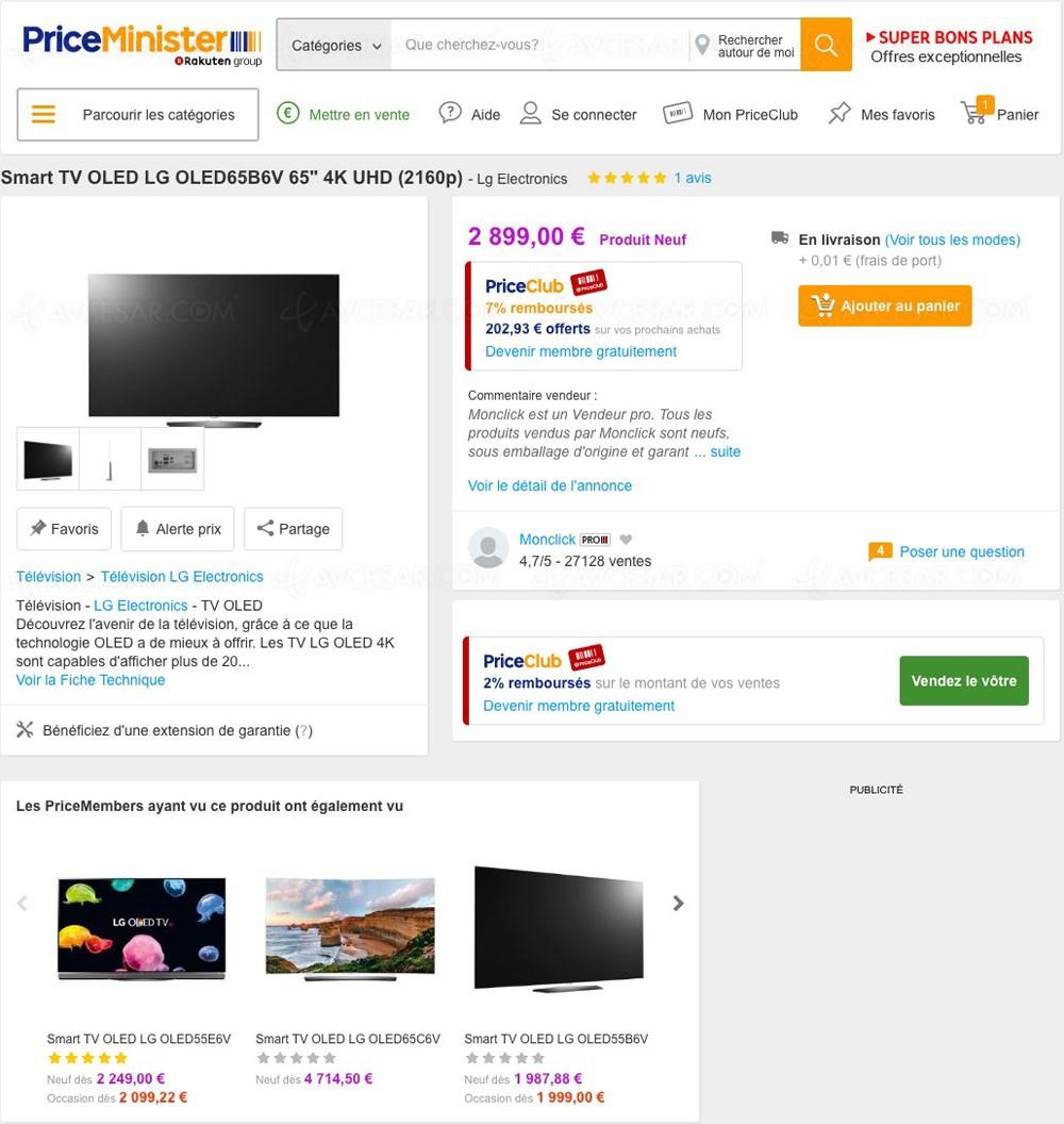 super bon plan priceminister tv oled lg 65b6v 2 899. Black Bedroom Furniture Sets. Home Design Ideas