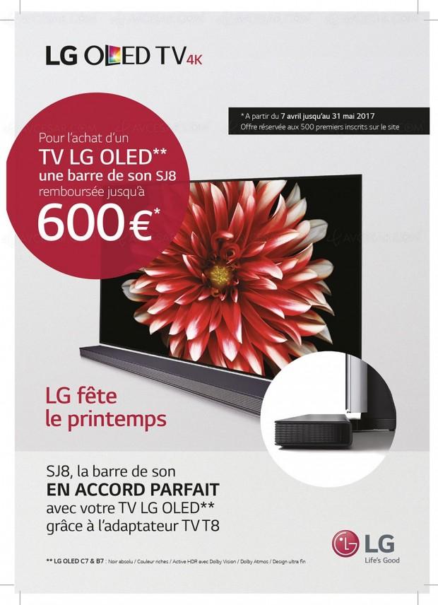 Offre de remboursement LG barre sonore de 600 € pour l'achat d'un TV Oled