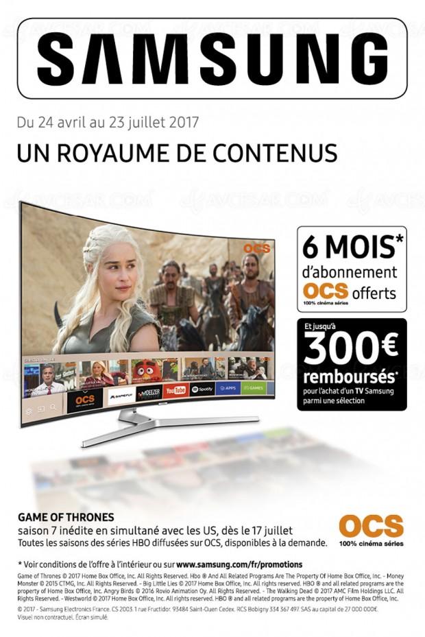 Offre de remboursement TVSamsung, jusqu'à 300€ +abonnement OCS6moisoffert