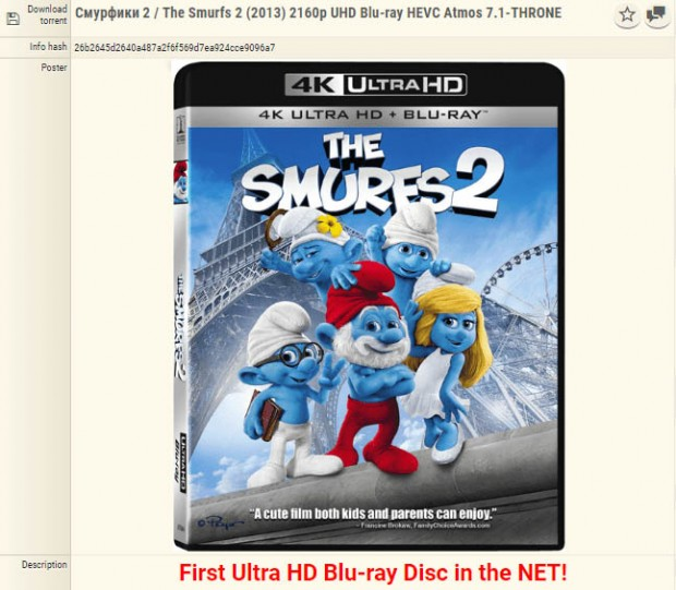 Les Schtroumpfs 2, tout premier Ultra HD Blu-Ray piraté