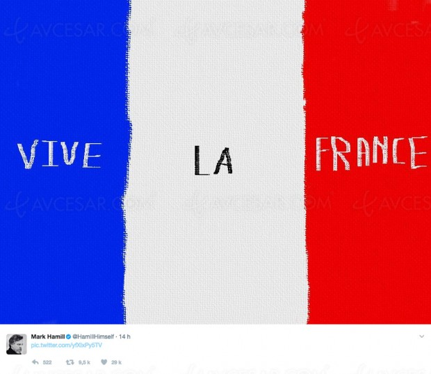 Le Rebelle Jedi Mark Hamill (Star Wars) écrit Vive la France