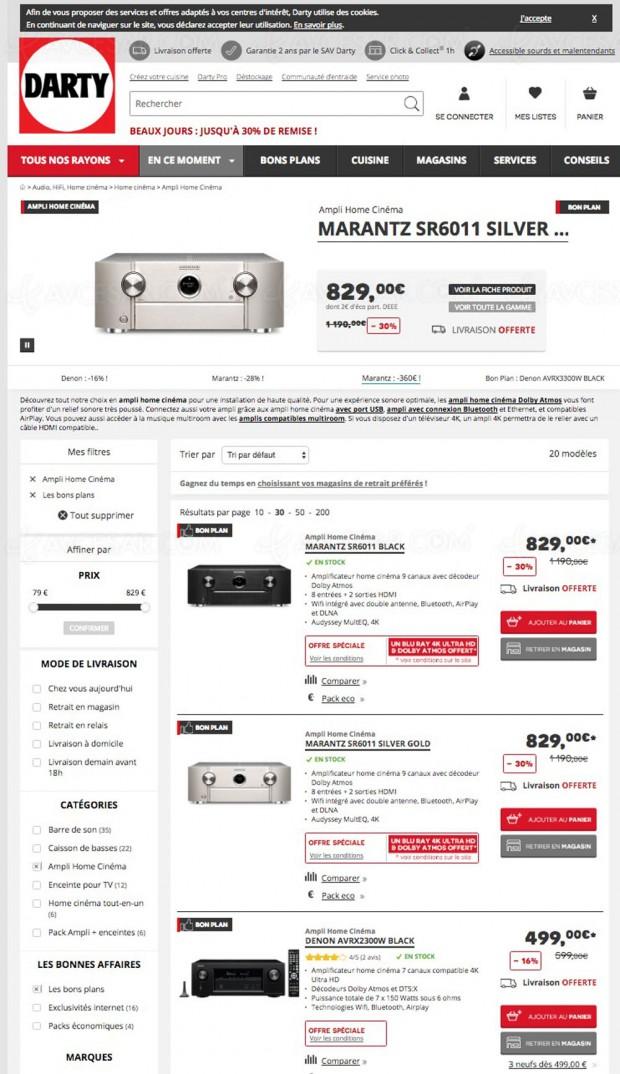 Bons plans Darty.com, amplificateurs Home Cinéma jusqu'à -40%