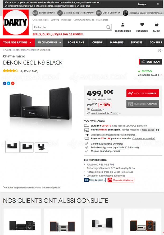 Bons plans Darty.com, micro‑chaînes Denon Ceol N9 à -16%