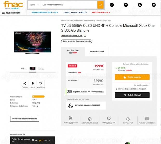 Très bon plan Fnac, TV Oled LG 55B6V + Xbox One S à 1 999 € !