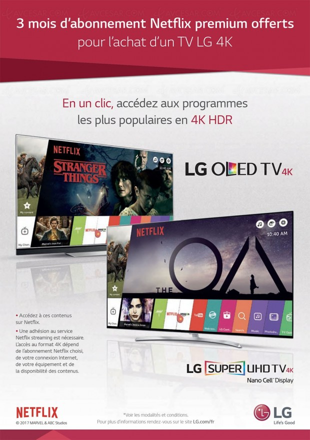 TV LED/TV Oled LG, 3 mois d'abonnement Netflix offert