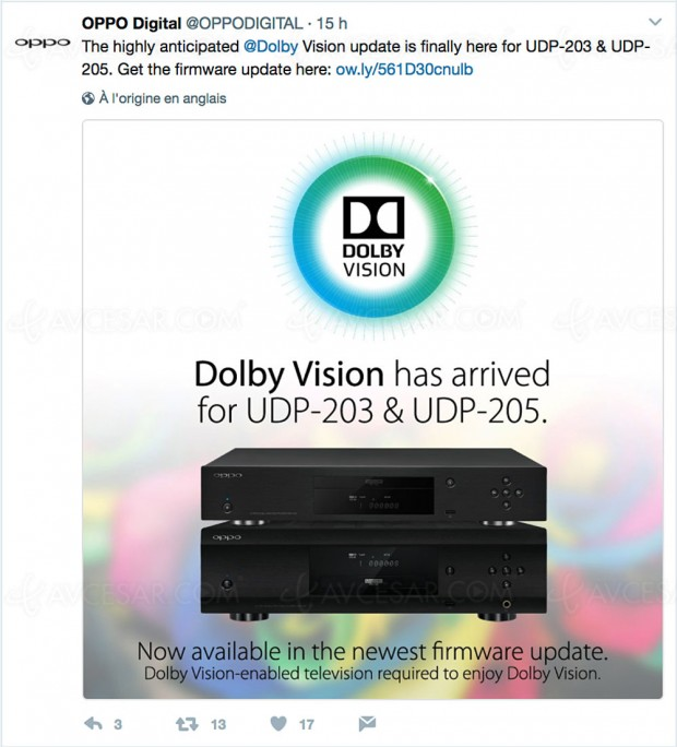Platines Ultra HD Blu-Ray Oppo UDP-203 et Oppo UDP-205, mise à jour Dolby Vision disponible