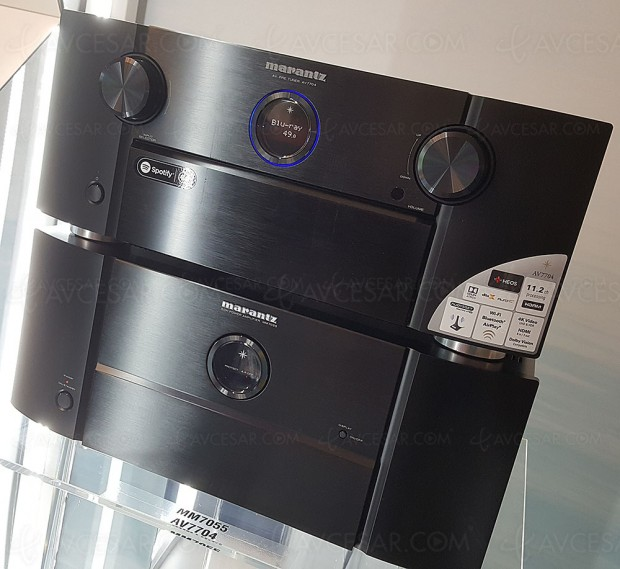 Marantz AV7704, pré‑amplificateur 11.2, Upscaling Ultra HD, multiroom Heos, HDR, Dolby Atmos 7.1.4 et DTS:X 11.2