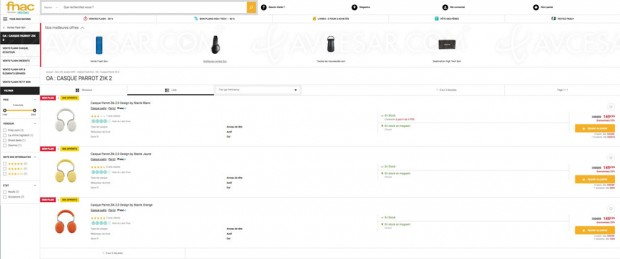 Bon plan Fnac, casque Bluetooth Parrot Zik 2 proposée à 149,99 € au lieu de 299,99 € + 50 € en chèque cadeau