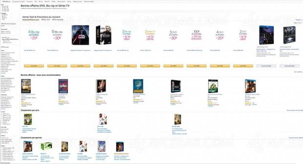 Amazon bonnes affaires DVD, Blu‑Ray et Séries TV, 6 164 BD/DVD à petit prix