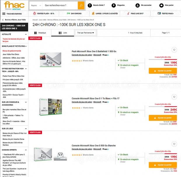 Opération Fnac 24h chrono, -100 € sur une sélection de packs Xbox One S, soit de -29% à -34%