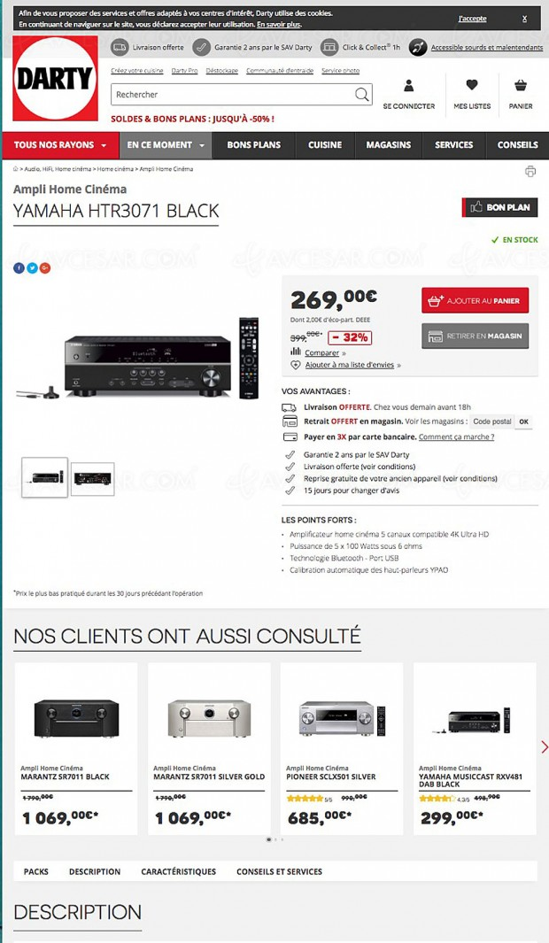 Soldes été 2017 Darty.com, -32% sur l'amplificateur Home Cinéma 5.1 Yamaha YHT‑3071