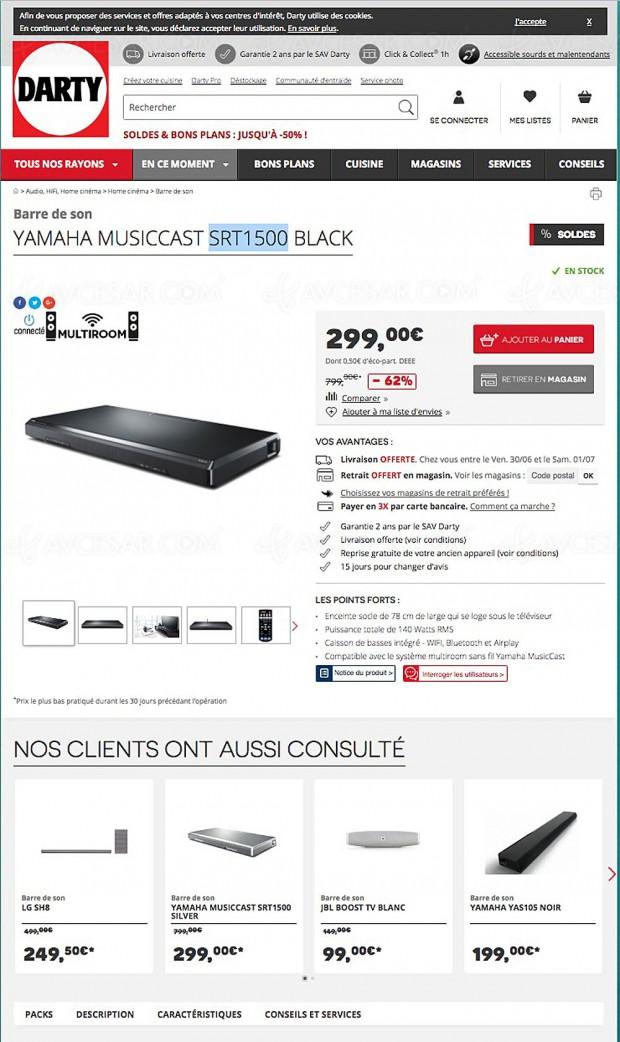 soldes t 2017 bons plans barre de son musiccast yamaha srt1500 62. Black Bedroom Furniture Sets. Home Design Ideas